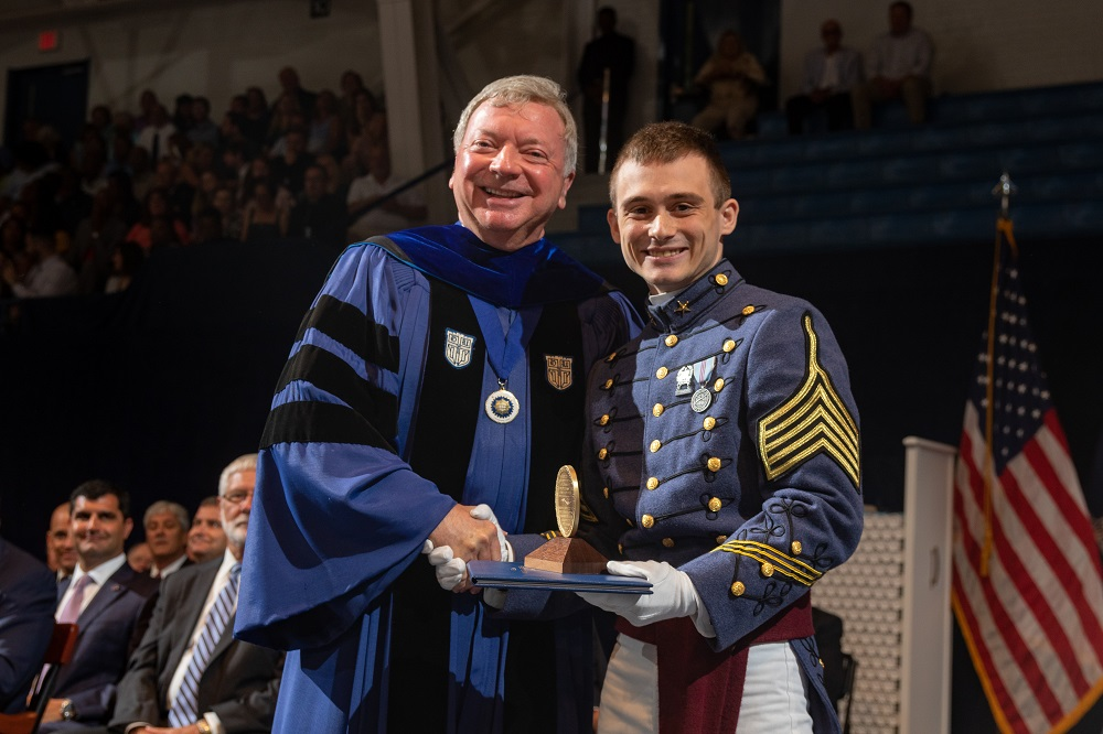 The Citadel Honors Student and Professor with the Sullivan Award for