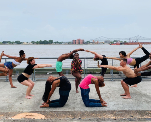 this photo depicts the energy and beauty of a Magnolia Studio yoga class