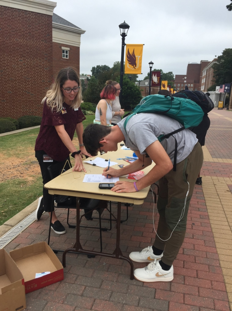 this photo illustrates voter engagement efforts at Winthrop University