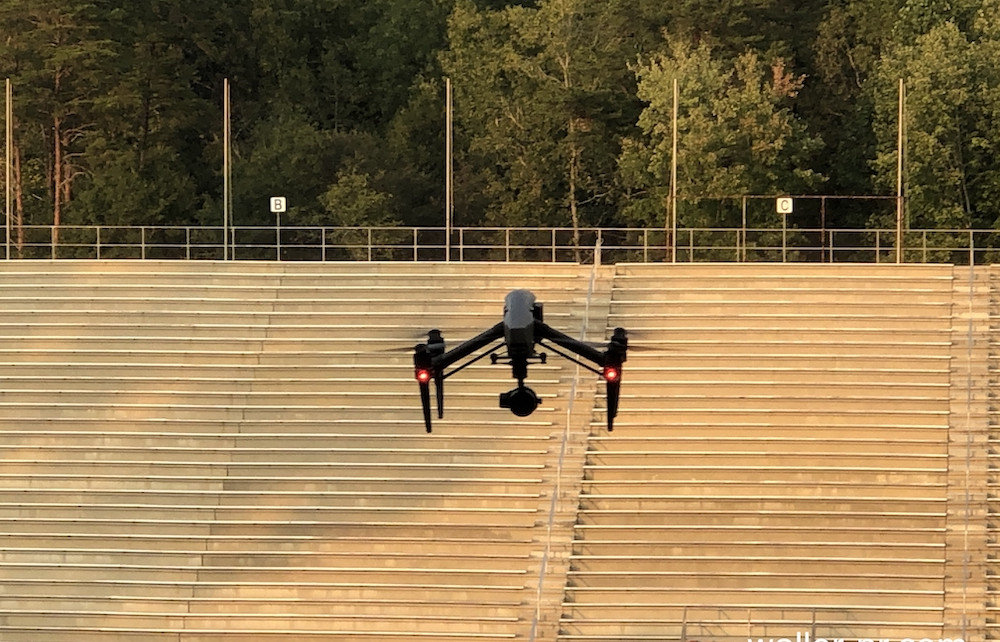 this photo shows a humanitarian drone in action at Furman University