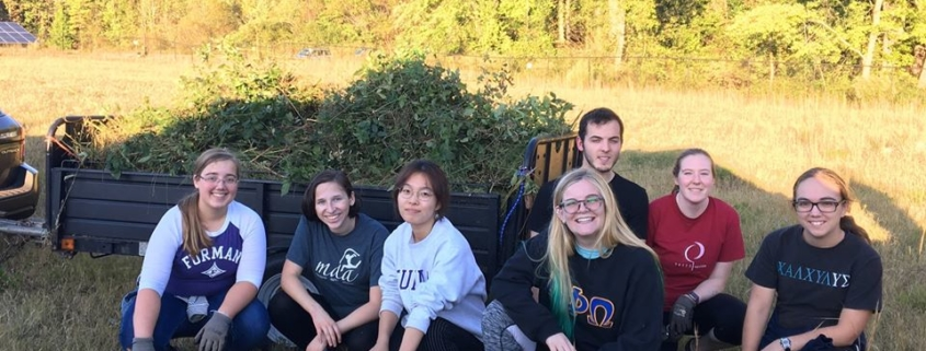 this photo shows Furman University students getting ready for a sustainable Christmas in 2019.