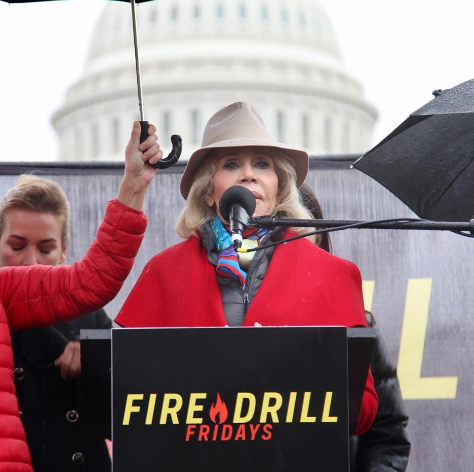 this photo shows Jane Fonda joining the youth fighting global change
