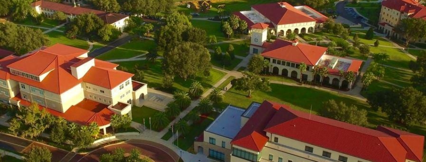 this photo shows the importance of a successful campus recycling program to maintaining the beauty of Saint Leo University.