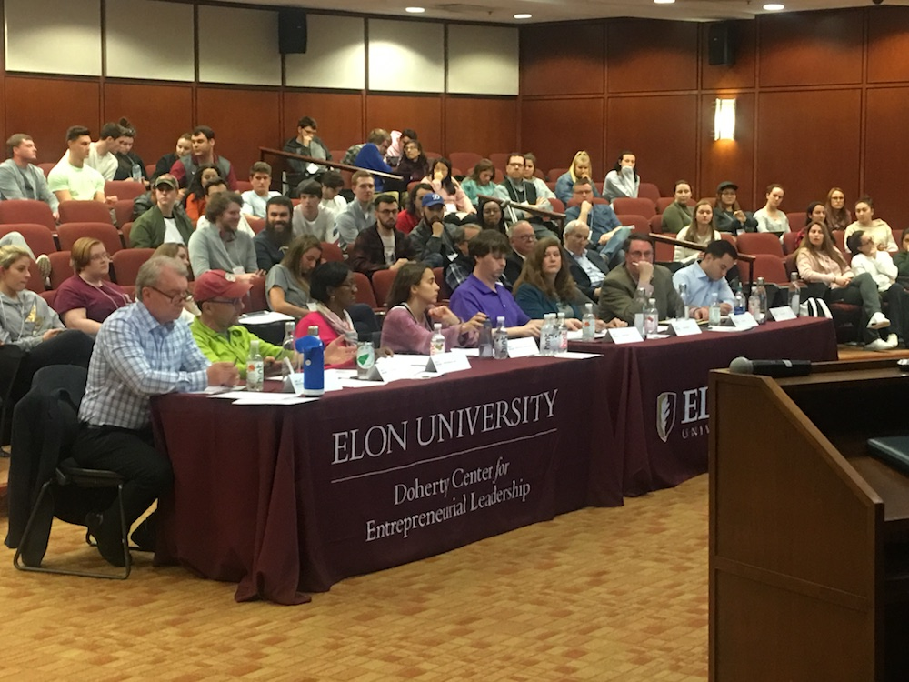 This photo shows judges at the Elon Innovation Challenge