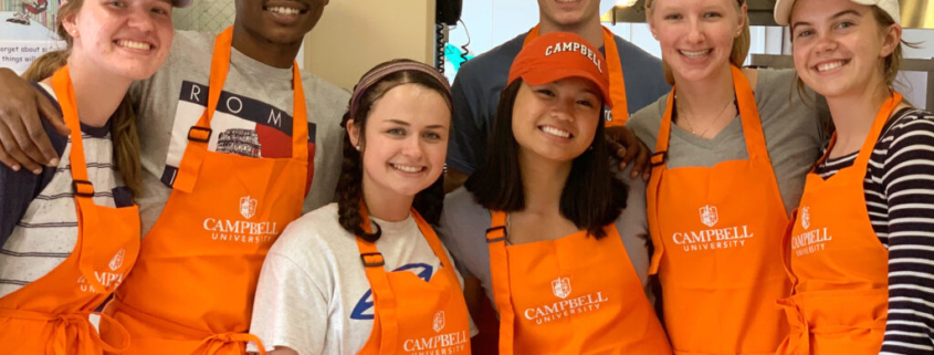 This photo shows Campbell University students taking part in the Collegiate Hunger Challenge