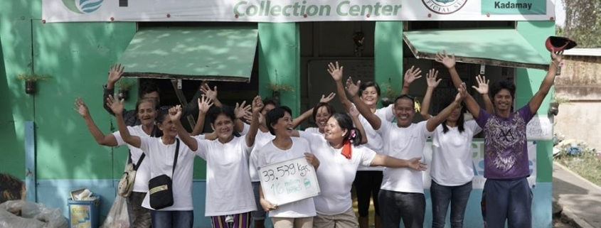 this photo shows a group of collectors at a Plastic Bank collection center