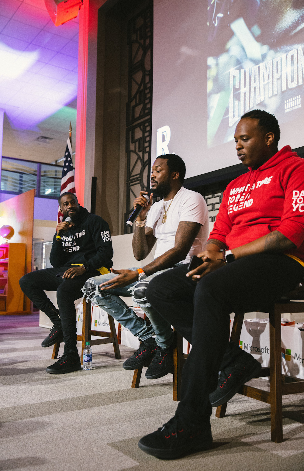 this photo shows rapper Meek Mill at a Reading With a Rapper event