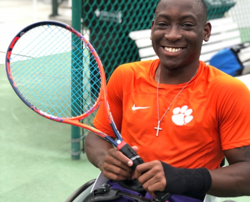 this photo shows wheelchair tennis athlete Marsden Miller, a member of Clemson University's first adaptive sports team