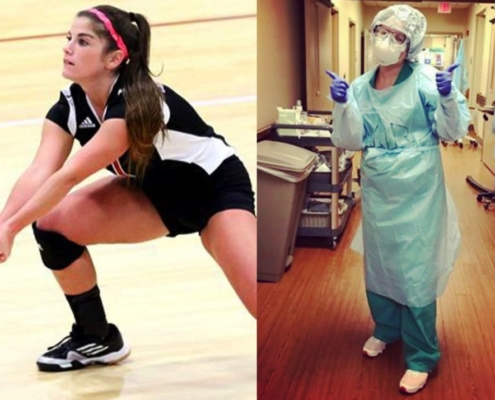 photo of former Cumberland University volleyball player McCrea Barney, now a nurse fighting the COVID-19 pandemic