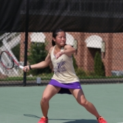 photo of Steffi Kong of Converse College playing tennis