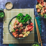 this photo shows a colorful Tempeh Buddha Bowl from a recipe offered by Better Nature