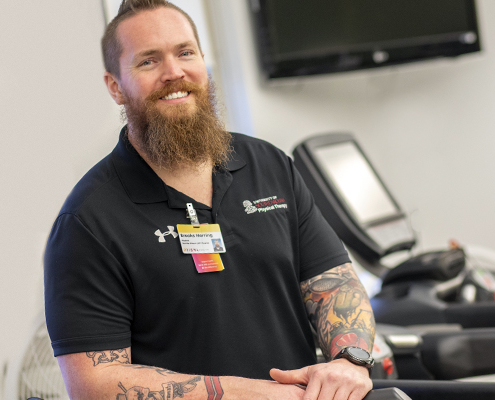 this photo shows military veteran Brooks Herring in a physical therapy facility at the University of South Carolina