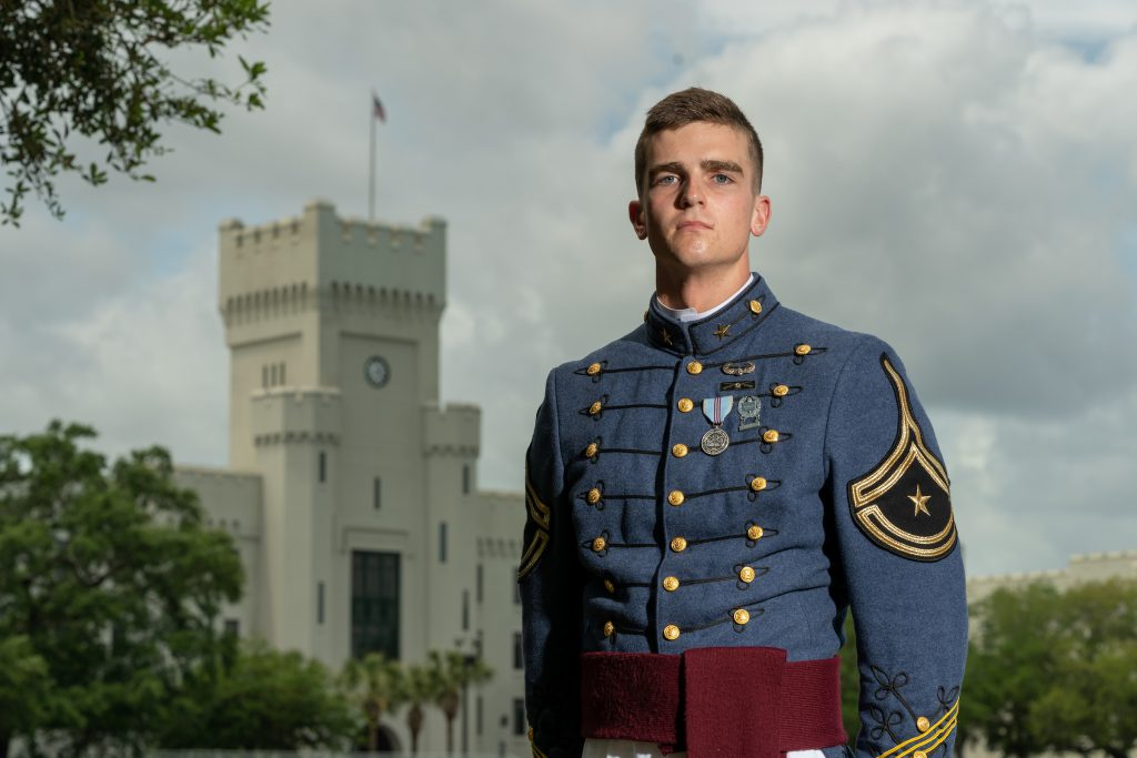 "this photo shows Richard ""Ben"" Snyder of The Citadel looking very dignified in dress blue uniform"