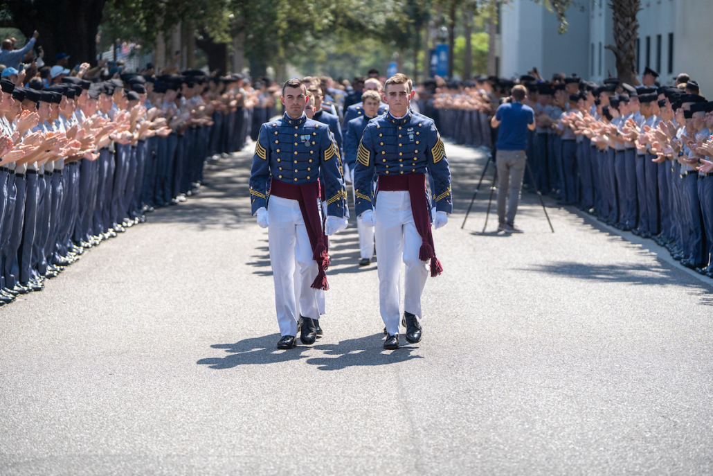 this photo shows Richard Ben Snyder marching in formation for The Citadel's Class Ring presentation