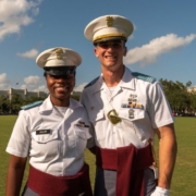 "this photo shows Richard ""Ben"" Snyder of The Citadel with fellow cadet Ruby Bolden in their dress uniforms"