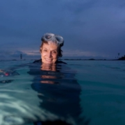 this photo shows marine biologist Dr. Sylvia Earle during a dive in the ocean