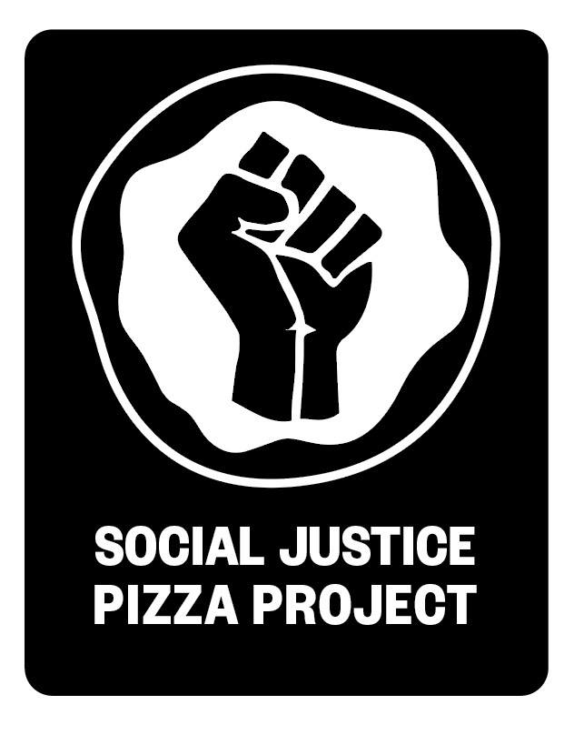 this photo shows the logo of the Social Justice Pizza Project, a clenched fist over a white background