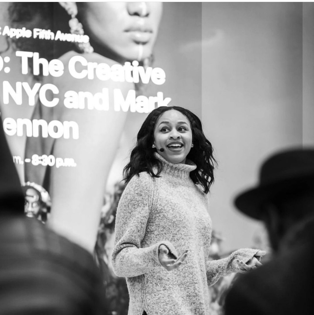 this photo shows Imani Ellis at a presentation for the Creative Collective NYC and CultureCon