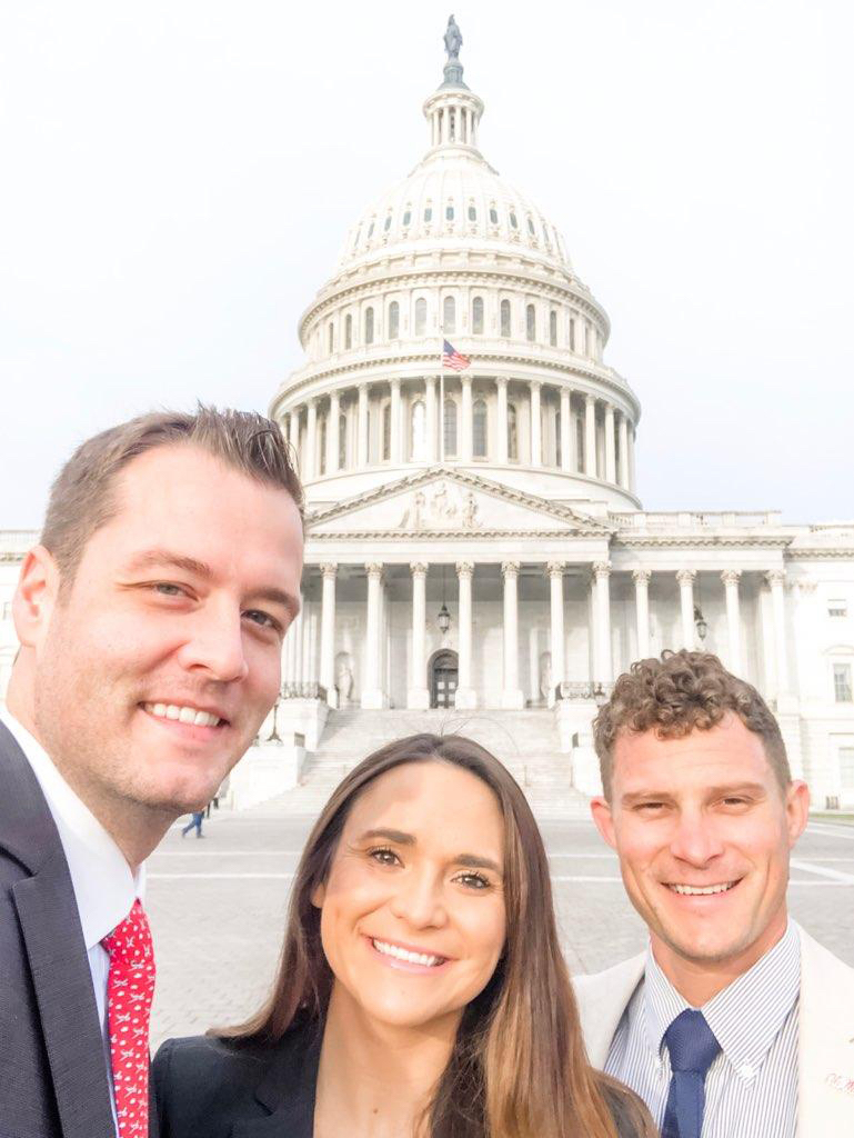 this photo shows Lauren Graham with colleagues Andrew Newby and Jamie King in front of the Capitol building in Washington, D.C.