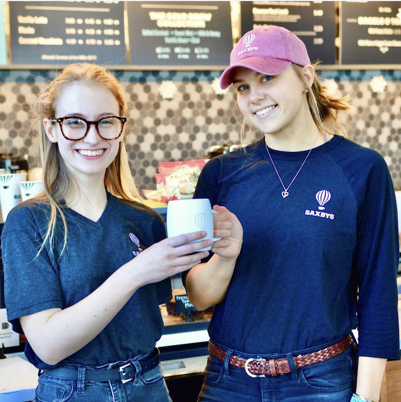 this photo depicts two women employees at a Saxbys ELP Cafe at La Salle University