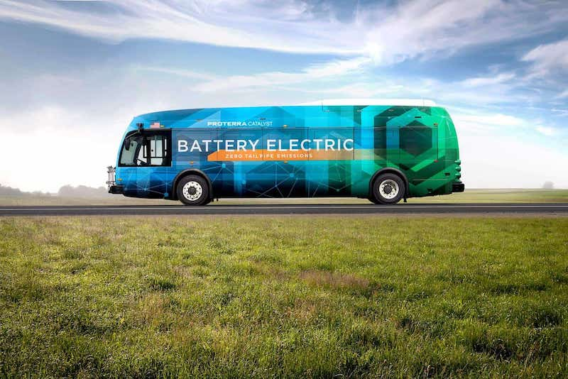 this photo shows an electric bus manufactured by Proterra