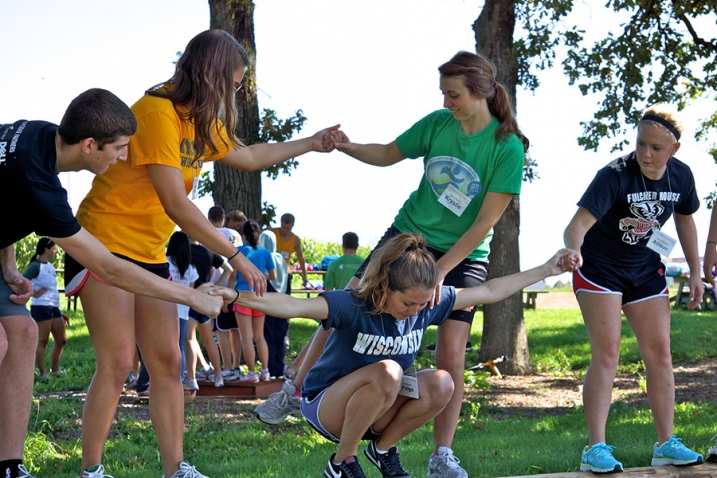 this photo shows a group of Rollins College students taking part in a leadership development exercise as part of the Emerging Leadership Institute