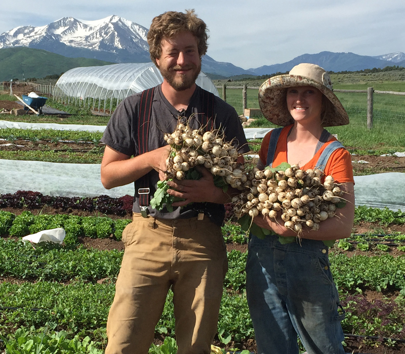 pictured are the owners of Two Roots Farm in Colorado, recipient of a loan from a SOIL group connected with the Slow Money Institute