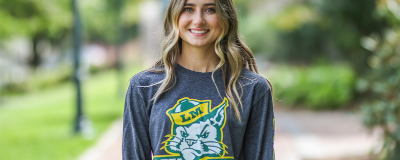 this photo shows Sullivan Scholarship recipient Morgan Crowe in a Lees-McRae College shirt