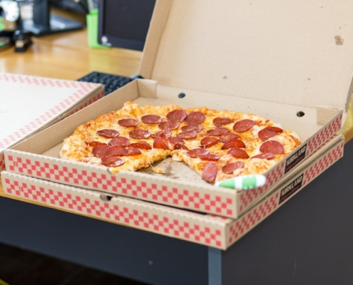 this is a photo of a used pizza box that can be recycled