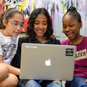 this photo shows a group of Girls Who Code participants at Converse College.