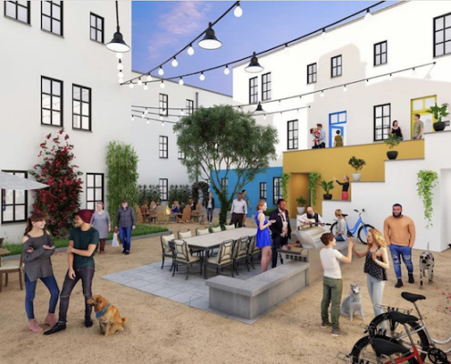 this is an artist's rendering of a plaza in Culdesac Tempe, a car-free community in Tempe, Arizona