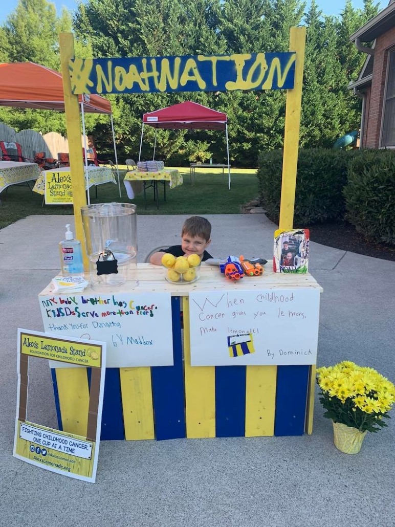 this photo shows Noah Sileno of the #NoahNation Foundation raising funds for Alex's Lemonade Stand Foundation.