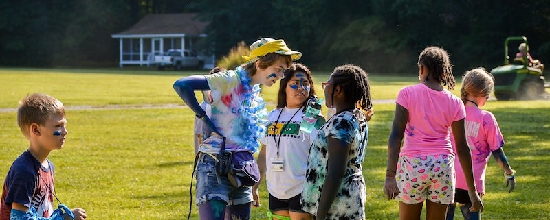 this photo shows Clare Yordy at a Camp Kesem event for kids impacted by cancer at George Mason University