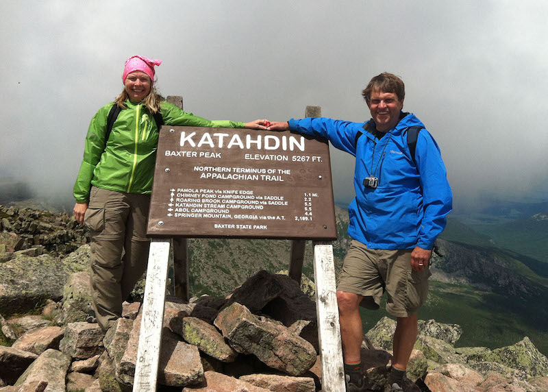 this photo shows University of Alabama nursing graduate Leigh Mayberry and her husband Mike hiking the Appalachian trail.