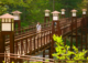 This photo shows a young woman walking across a beautiful bridge in a scenic area of Warren Wilson College, one of the country's top sustainable campuses.