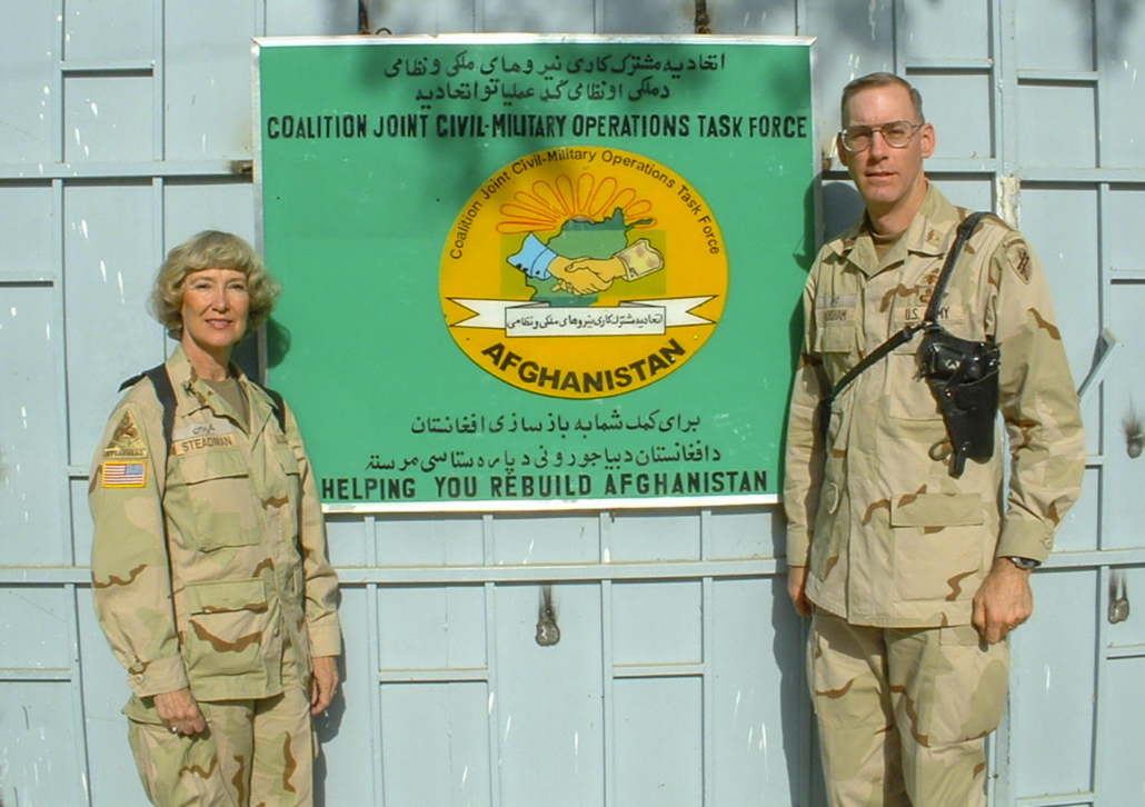 this is a photo of Col. Elizabeth Steadman of the Medical Service Corps in Kabul, Afghanistan