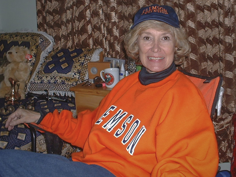 this is a photo of Col. Elizabeth Steadman in Clemson University's school colors