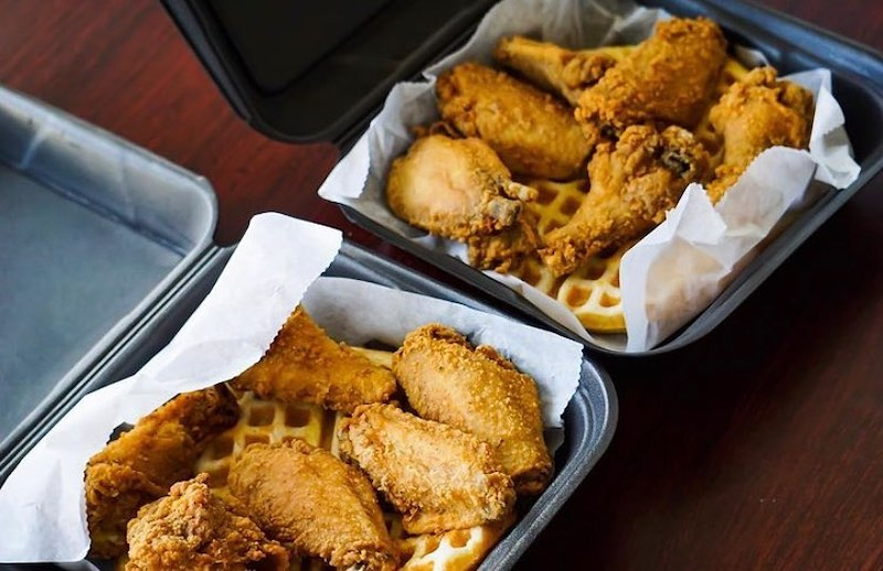 this photo shows fried chicken and other soul food from D Cafe, a Black-owned restaurant benefiting from Black and Mobile's food delivery service in Atlanta