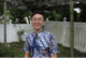 this is a photo of Dustin Liu, UNA-USA Youth Observer to the UN, in his back yard