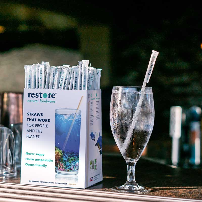 this is a photo of a biodegradable straw from Restore Foodware, a sustainable alternative to plastic straws