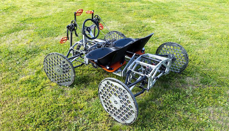 this photo shows the space mission rover designed by mechanical engineering students at Campbell University for NASA HERC.