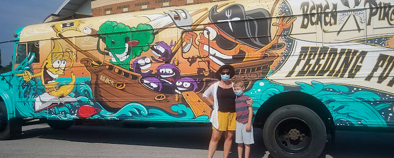 this is a photo of the colorful Berea Wellness Bus at Berea College