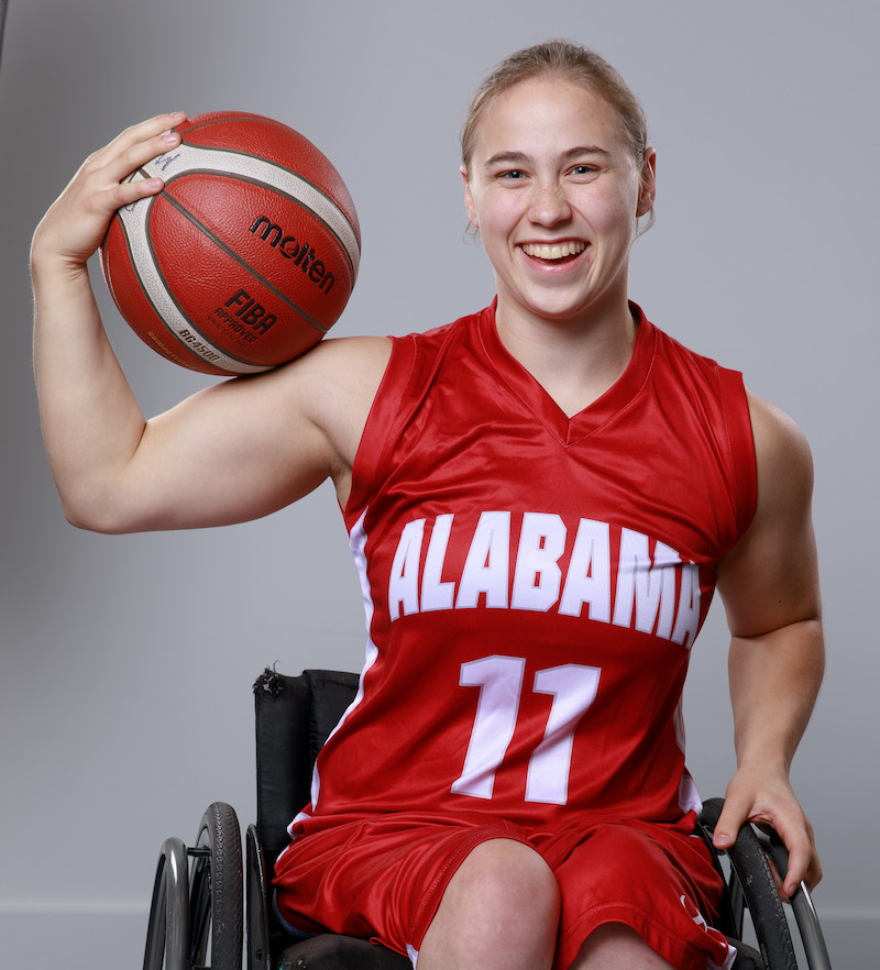 this photo shows Lindsey Brugg, an athlete who plays on the University of Alabama's women's wheelchair basketball team