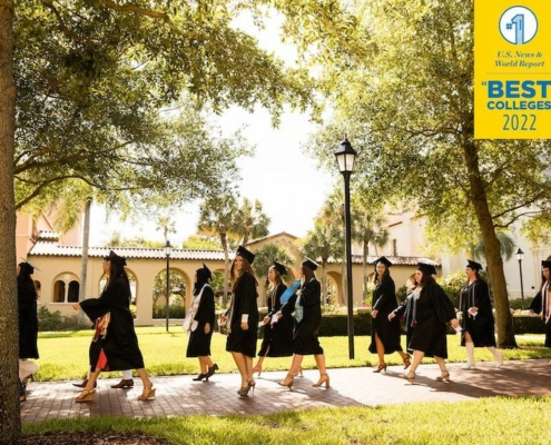 this photo shows the recent graduating class of Rollins College, named U.S. News & World Report's top regional university in the South